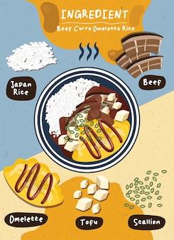 Ingrédient boeuf curry omelette riz nourriture japon éléments de cuisson légumes sains indiens