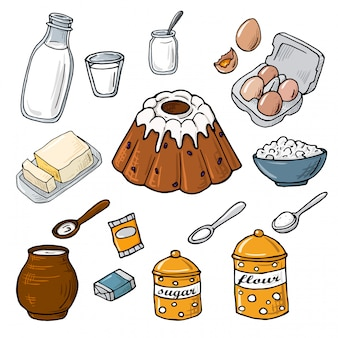 Ingrédient de gâteau de pâques. ensemble d'éléments: lait, farine, œufs, sucre, beurre, levure, fromage. illustration de dessin animé