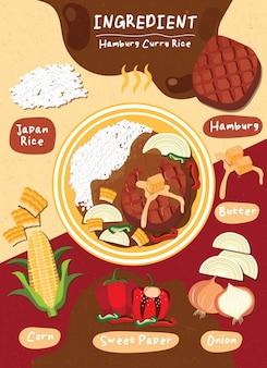 Ingrédient hambourg curry riz nourriture japon éléments cuisson légumes sains