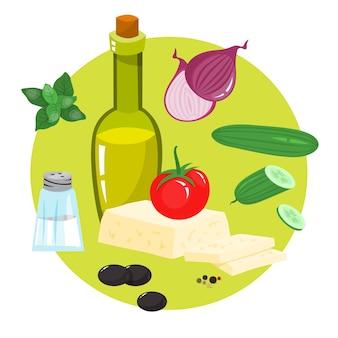 Ingrédient sain pour une nourriture savoureuse. concombre et huile d'olive