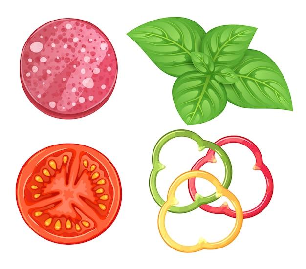 Ingrédients alimentaires tranchés - salami, tomate, poivrons doux et feuilles de basilic.