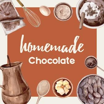 Ingrédients d'aquarelle au chocolat faisant la boulangerie au chocolat, oeuf, beurre, illustration