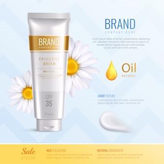 Ingrédients cosmétiques biologiques publicité composition réaliste avec nouvelle description des ingrédients naturels collection vector illustration