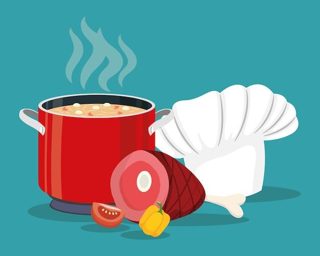 Ingrédients de cuisine et ensemble d'éléments de casserole