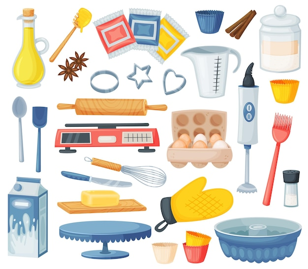 Ingrédients de cuisson de dessert de dessin animé et ustensiles de cuisine. farine, œufs, huile, ingrédient de cuisson du lait, ustensiles de cuisine et fournitures de boulangerie ensemble de vecteurs