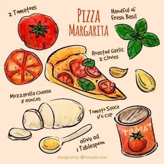 Ingrédients dessinés à la main à pizza