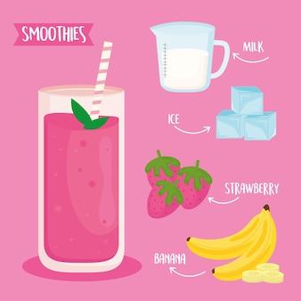 Ingrédients de fruits smoothie mis icônes