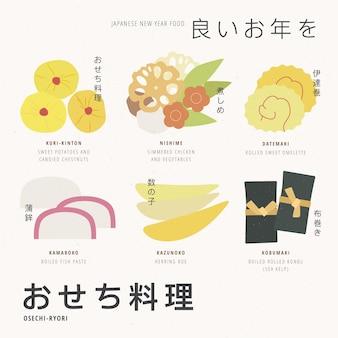 Ingrédients géométriques vintage osechi ryori