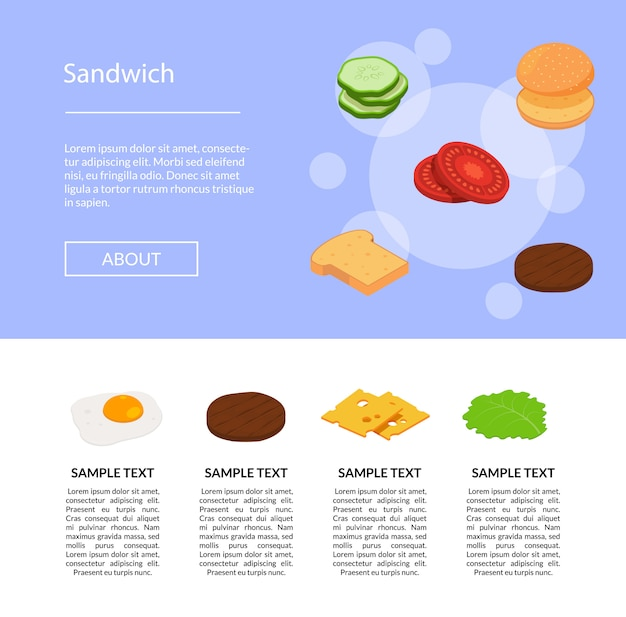 Ingrédients de hamburger isométrique du jeu isolé