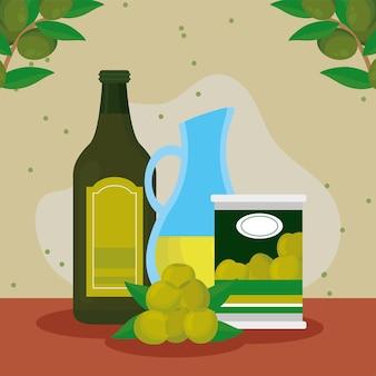 Ingrédients de l'huile d'olive dans le tableau