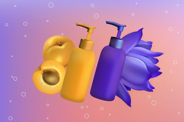Ingrédients de lys abricot dans l'illustration de produit cosmétique de soin de la peau.