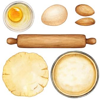 Ingrédients et outils de préparation de recette aquarelle