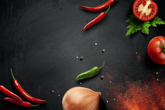 Ingrédients de piment et d'oignon sur le tableau en illustration 3d