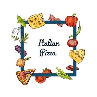 Ingrédients de pizza dessinés à la main volant autour du cadre