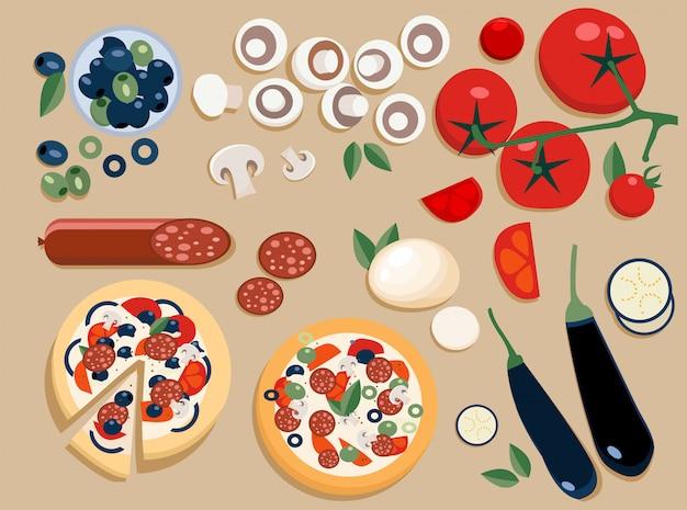 Ingrédients de pizza ensemble entiers et coupés en morceaux