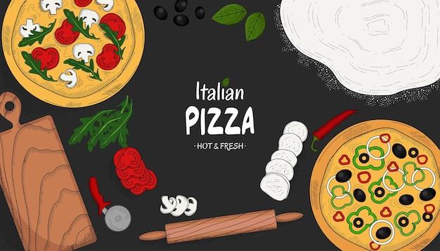 Ingrédients de pizza italienne et articles de cuisine vue de dessus modèle de conception de menu alimentaire