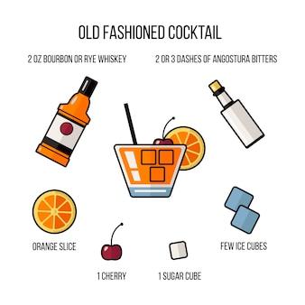 Ingrédients pour faire un cocktail à l'ancienne