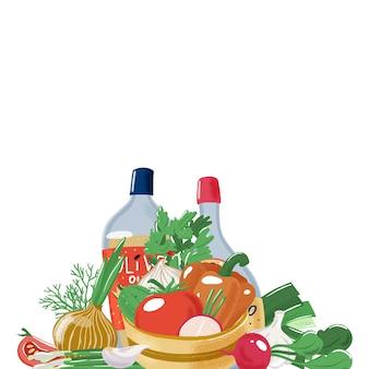 Ingrédients de la salade, conception de modèle de bannière
