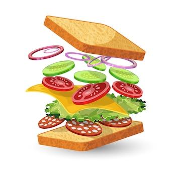 Ingrédients sandwich au salami