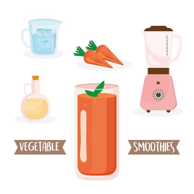 Ingrédients de smoothie aux carottes mis icônes