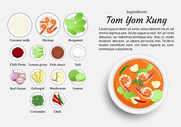 Ingrédients de tom yum kung