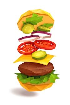 Ingrédients volants pour hamburger