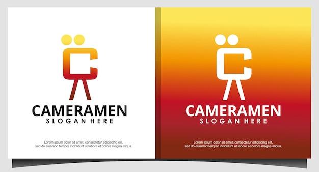 C initial pour le vecteur de conception de logo de cameramen