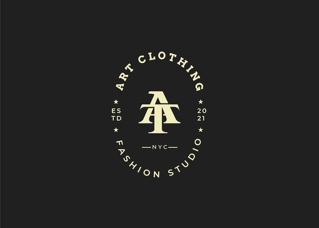 Initiale au modèle de conception de logo de lettre, style vintage, illustrations vectorielles