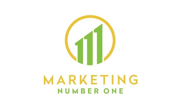 Initiale / lettre m et 1 pour la création du logo marketing