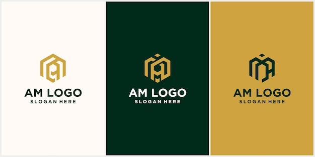 Initiales am logo hexagonal monogram am logo hexagonal avec dégradé de couleurs du luxueux logo initiales