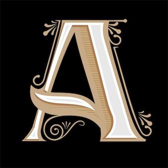 Initiales du logo monogramme a avec ornement