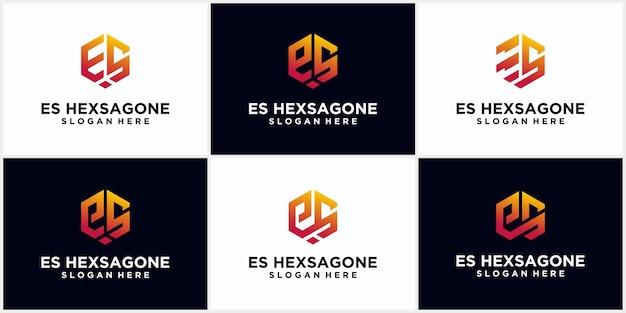 Initiales es logo hexagonal monogramme