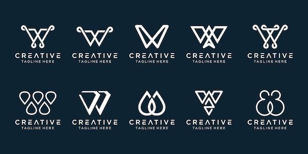 Initiales inspirantes du monogramme w icônes de modèle de logo pour les entreprises de la technologie du sport de la mode