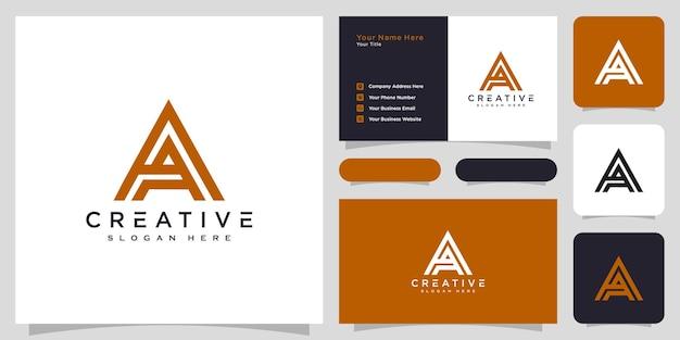 Initiales lettre a conception de vecteur de logo et carte de visite