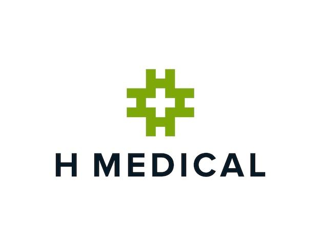 Initiales lettre h rotation et symboles médicaux croisés simple création de logo géométrique moderne