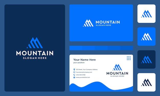 Initiales lettre m logo avec des formes de montagne et d'investissement. carte de visite