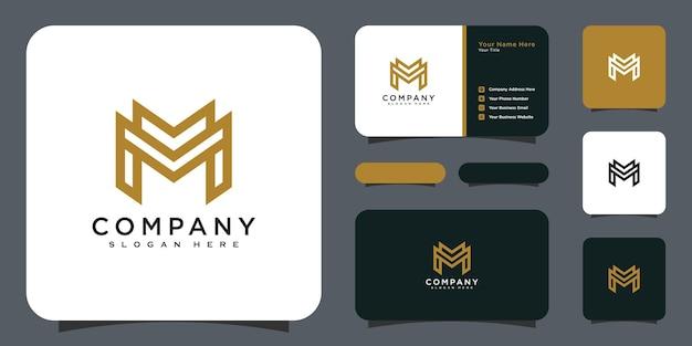 Initiales lettre m logo vector design et carte de visite