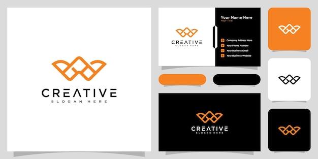 Initiales lettre w style de ligne de conception de logo vectoriel