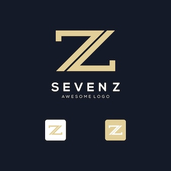 Initiales z et modèle de logo numéro 7 avec une couleur de style doré pour l'entreprise