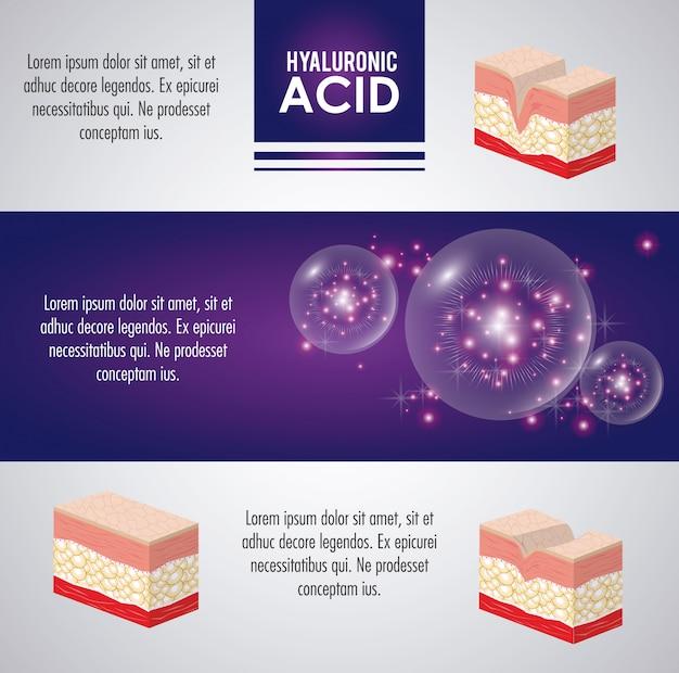Injection de remplissage d'acide hyaluronique infographique