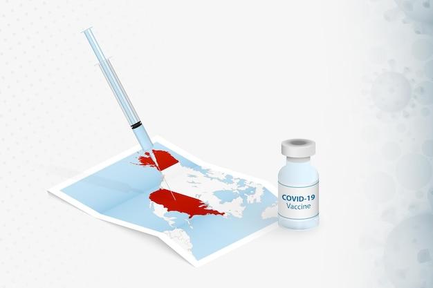 Injection avec vaccin sur la carte des états-unis