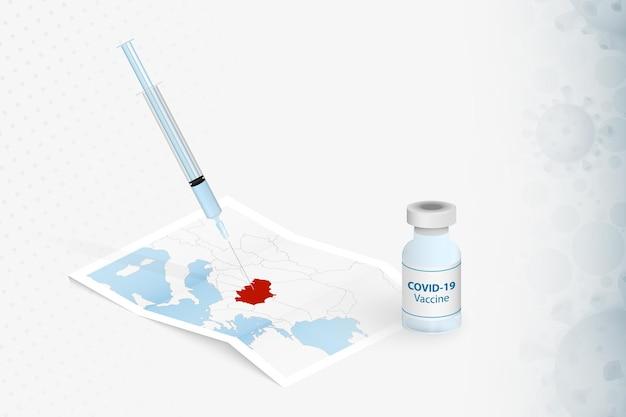 Injection avec vaccin sur la carte de la serbie