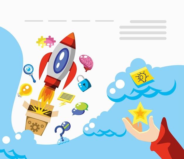 Innovation et imagination d'entreprise de créativité de démarrage