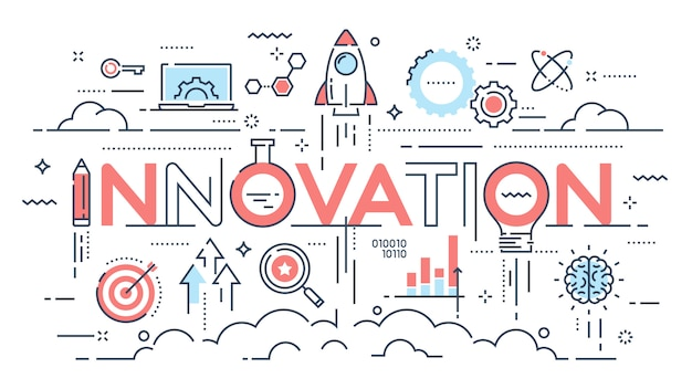 Innovation, nouvelles idées, créativité et technologie fine line conce