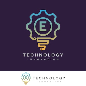 Innovation technologique initiale lettre e logo design