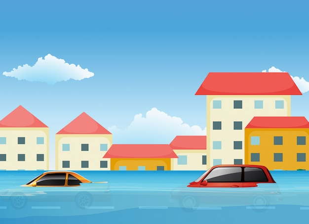 Une inondation dans la ville