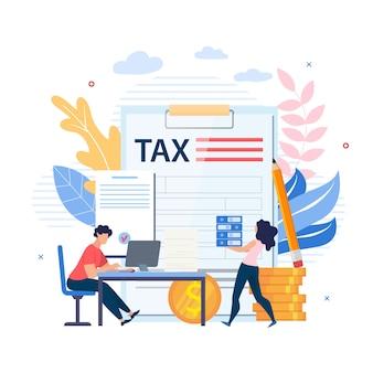 Inscription affiche lumineuse sur le document impôt plat.