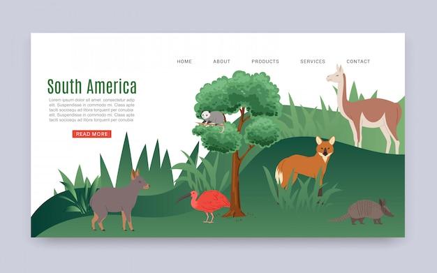 Inscription amérique du sud, bannière web colorée, jungle continentale, mammifères américains, faune, illustration de dessin animé.