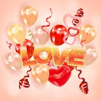 Inscription amour avec des coeurs de ballons à air réalistes qui brillent des banderoles tourbillonnantes
