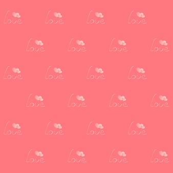 Inscription amour avec deux coeurs. modèle sans couture pour la saint-valentin. arrière-plan de conception, papier d'emballage, papier peint, entrelacs pour l'industrie textile